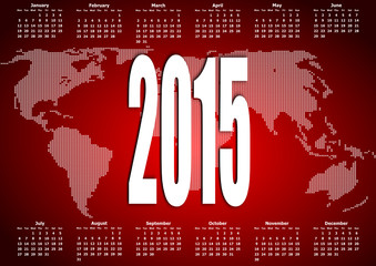 vector calendar 2015 monday firts