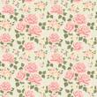Pink vintage rose pattern. Vector