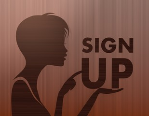 noble woman silhouette with sign up