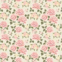 Pink vintage rose pattern. Vector