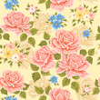 Seamless wallpaper pattern with roses. Floral background