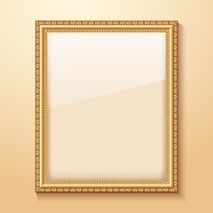 Empty gold frame hanging on the wall. Vector illustration