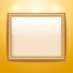 Empty gold frame hanging on the wall. Vector