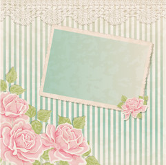 Vintage background with roses and photoframe