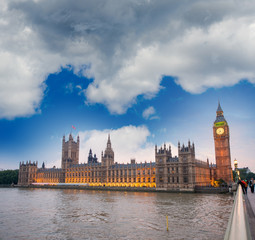 Cloudy evening over Houses of Parliament - London