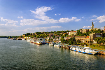 Belgrade from river Sava with tourist riverboats