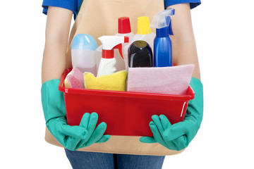 Closeup of Hands of Housewife Holding  Cleaning Gear