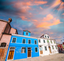 Bright colors of Burano. Famous colorful homes in Venice, Italy