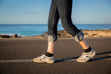 walking on ocean drive