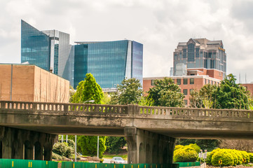A view of the skyline of Raleigh, North Carolina.