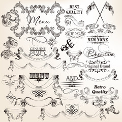 Collection of vector decorative banners and elements for design