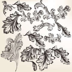 Collection of vector hand drawn swirl flourishes for design