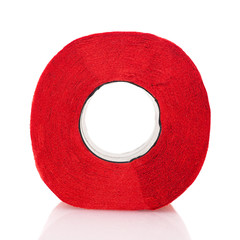 Toilet paper red isolated on white