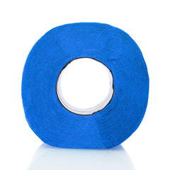 Toilet paper blue isolated on white