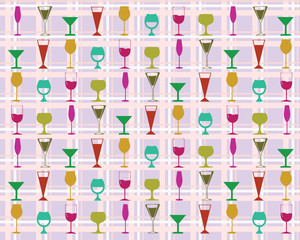 Seamless pattern colorful wine glasses