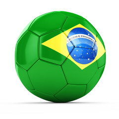 3d soccer ball with brazil flag