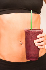 Slender Female Torso Tanned Toned Body Blended Fruit Smoothie Dr