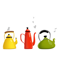 Simple cartoon kettle teapots