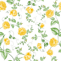 Seamless texture of orange roses for textiles