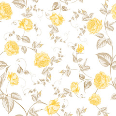 Seamless texture of pastel roses for textiles