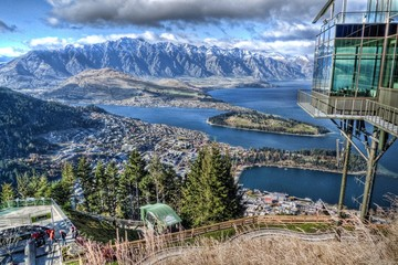 View over Queenstown from Skyline viewing platform