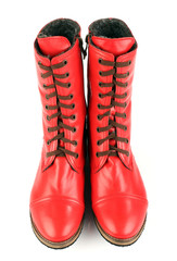 Women's red boots with laces