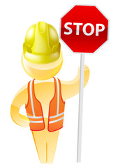 Stop sign construction man