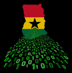 Ghana map flag with binary foreground illustration