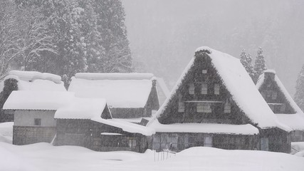 Snow falling on the winter house,in Toyama,Japan