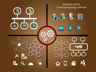 Network topology symbol collection and technology infographics