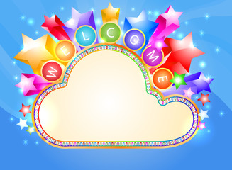 Welcome and colorful cloud marquee vector background