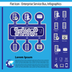 Technology flat icon and infographics