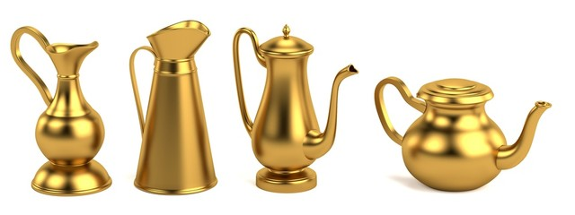 realistic 3d render of antique teapots