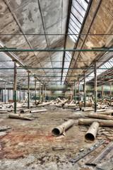 Messy abandoned warehouse