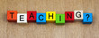 Teaching in words on childrens' building blocks, for education,