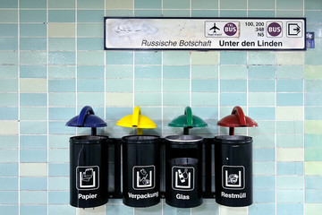 Separate collection of Rubbish in subway of Berlin