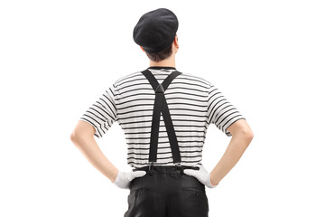 Mime dancer shot from behind