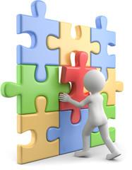 3d Männchen bute Puzzle zusammensetzen