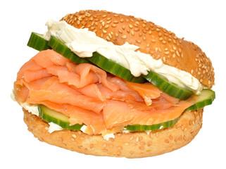 Fresh Smoked Salmon And Cream Cheese Bagel Sandwich