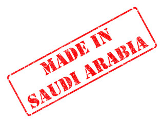 Made in Saudi Arabia - inscription on Red Rubber Stamp.