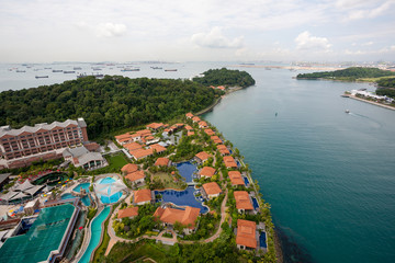 View of the island of Sentosa and Singapore