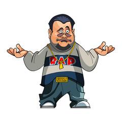 cartoon character fat man puzzled