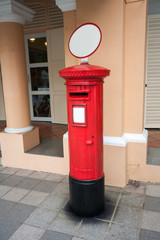 Classic old postbox on the street of the Singapore