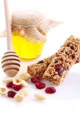 Miele,mirtillo rosso e barrette di cereali