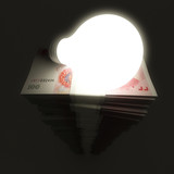 Renminbi stack with shiny light bulb poster