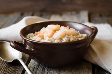 barley porridge with shrimp