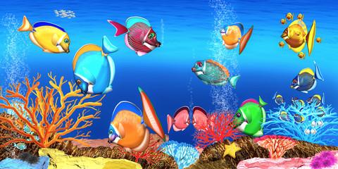 Korallenriff mit Korallenfische, Illustration