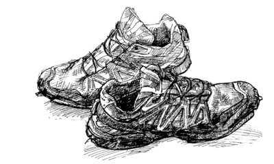 Tracing vector from hand drawing pair of old running shoe