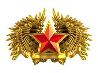 coat of arm with red star and wings