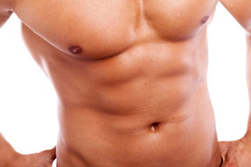 Close-up of guy with muscular torso
